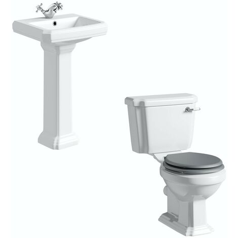 Orchard Dulwich cloakroom suite with grey seat and full pedestal basin 571mm