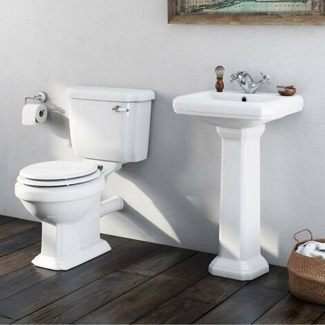Orchard Dulwich cloakroom suite with white seat and full pedestal basin 571mm