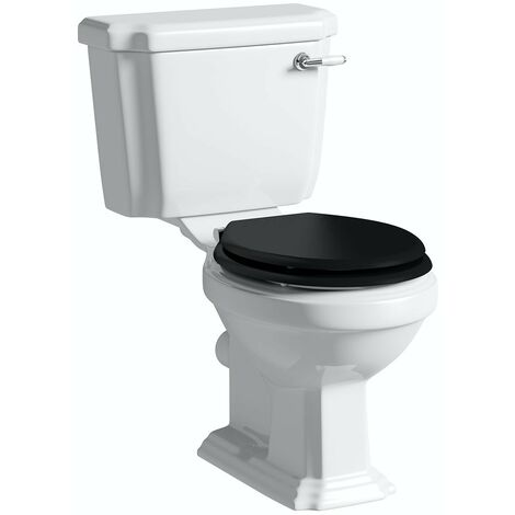 Orchard Dulwich close coupled toilet with black wooden toilet seat