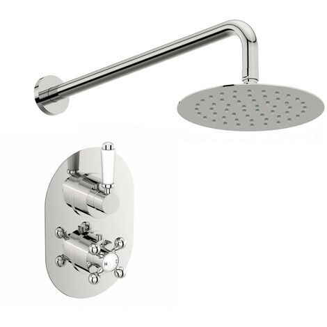 Orchard Dulwich concealed thermostatic mixer shower with straight wall arm 400mm shower head