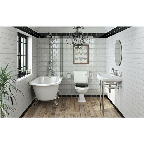 """main image of """"Orchard Dulwich freestanding shower bath suite with black seat"""""""