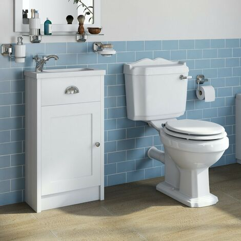 """main image of """"Orchard Dulwich matt white cloakroom unit and traditional close coupled toilet with white wooden seat"""""""