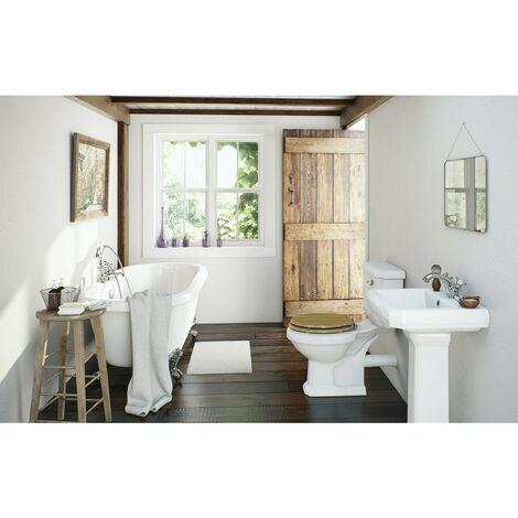 Orchard Dulwich roll top bath suite 1700mm with solid wood oak seat
