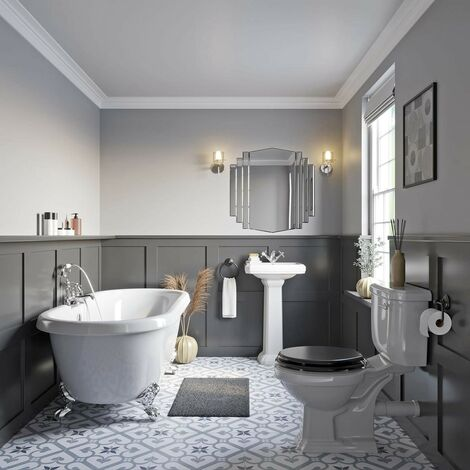 Orchard Dulwich roll top bath suite with grey seat 1774 x 805