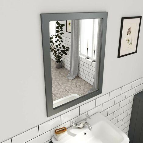 Orchard Dulwich stone grey bathroom mirror 800 x 600mm