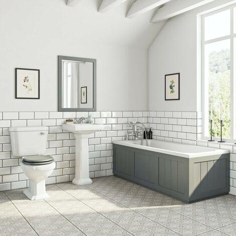 Orchard Dulwich stone grey bathroom suite with straight bath 1700 x 700mm