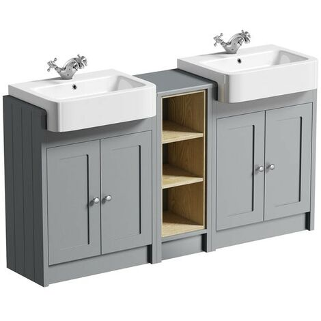 Orchard Dulwich stone grey floorstanding double vanity unit and basin with open storage combination