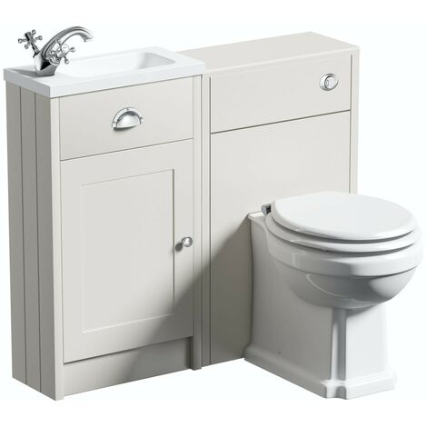 """main image of """"Orchard Dulwich stone ivory cloakroom combination with white wooden seat"""""""