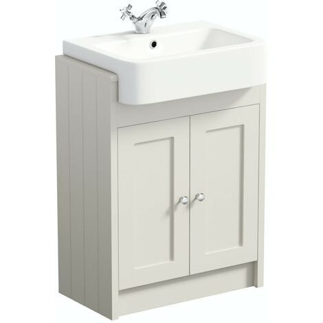Orchard Dulwich stone ivory floorstanding vanity unit with semi recessed basin 600mm