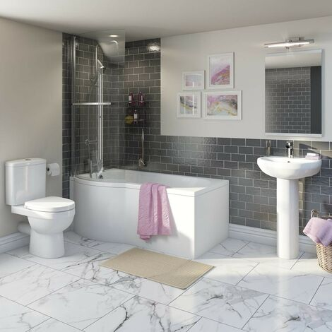 Orchard Eden bathroom suite with left handed P shaped shower bath 1500 x 850