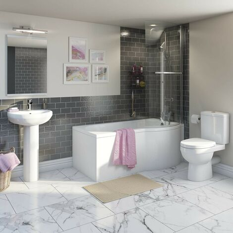 Orchard Eden bathroom suite with right handed P shaped shower bath 1500 x 800