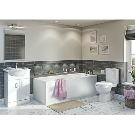 Orchard Eden complete white vanity bathroom suite with straight bath 1500 x 700