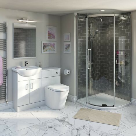 Orchard Eden ensuite suite with vanity unit, quadrant enclosure, and tray 900 x 900
