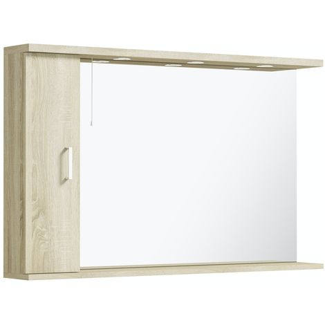 Orchard Eden oak LED illuminated mirror 750 x 1200mm with left side cabinet
