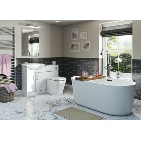 Orchard Eden white bathroom suite with contemporary freestanding bath 1500 x 700