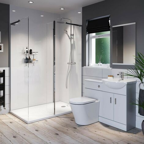 Orchard Eden white ensuite suite with 8mm frameless walk in shower enclosure and tray 1600 x 800