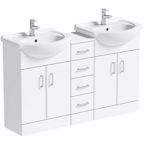 Orchard Eden white floorstanding double vanity unit and basin with multi drawer combination