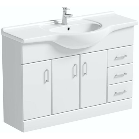 Orchard Eden white floorstanding vanity unit and ceramic basin 1200mm