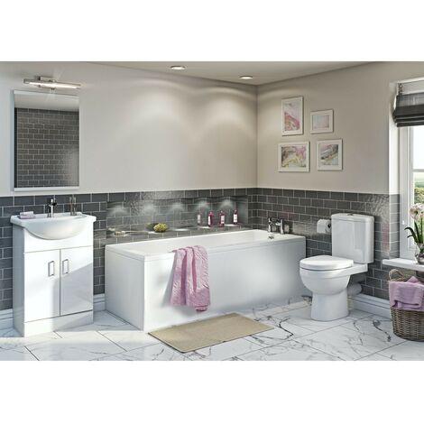 Orchard Eden white vanity bathroom suite with straight bath 1700 x 750
