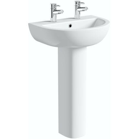 Orchard Elena 2 tap hole full pedestal basin 550mm