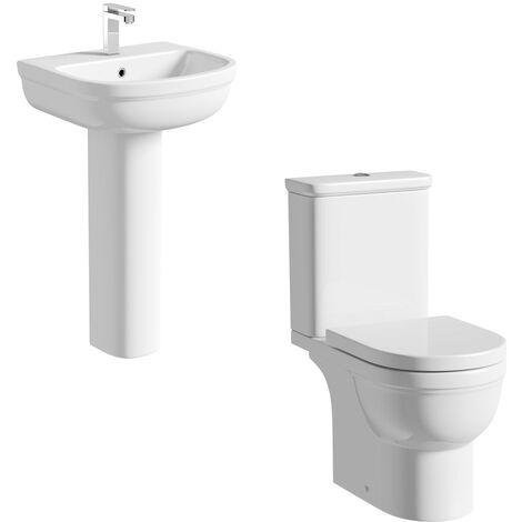Orchard Elsdon cloakroom suite with full pedestal basin 550mm