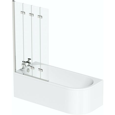 Orchard Elsdon left handed J shaped single ended shower bath with screen and bath mixer tap pack