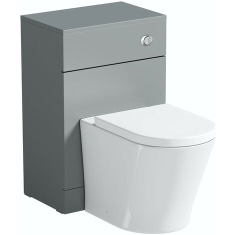 Orchard Elsdon stone grey back to wall unit and contemporary toilet with soft close seat
