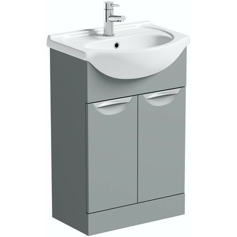 Orchard Elsdon stone grey floorstanding vanity unit and ceramic basin 550mm