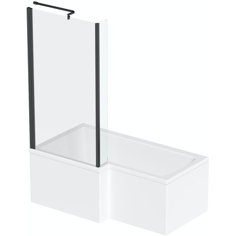 Orchard L shaped left handed shower bath with 6mm matt black shower screen 1700 x 850