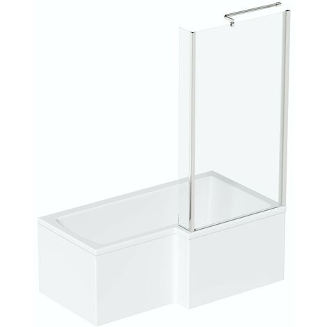 Orchard L shaped right handed shower bath 1700mm with 6mm shower screen