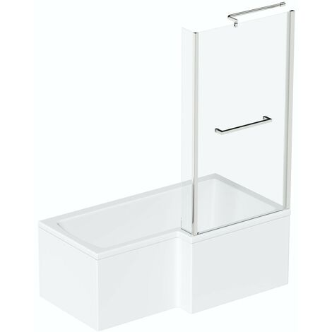 Orchard L shaped right handed shower bath 1700mm with 6mm shower screen and rail