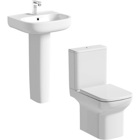 Orchard Lune cloakroom suite toilet with full pedestal basin 550mm