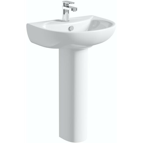 Orchard modern 1 tap hole full pedestal basin 540mm with tap
