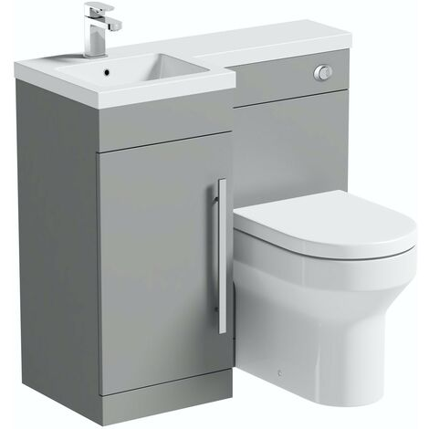 Orchard MySpace slate matt grey left handed combination unit with Wharfe back to wall toilet