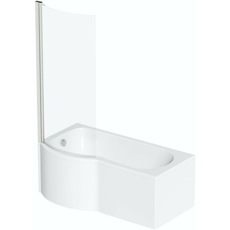 Orchard P shaped left handed shower bath 1700mm with 6mm shower screen