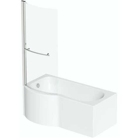 Orchard P shaped left handed shower bath 1700mm with 6mm shower screen and rail