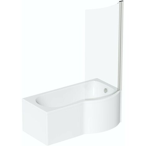 Orchard P shaped right handed shower bath 1700mm with 6mm shower screen