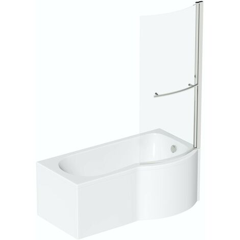 Orchard P shaped right handed shower bath 1700mm with 6mm shower screen and rail
