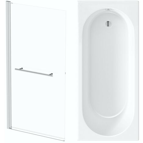 Orchard round edge shower bath with 8mm hinged shower screen and rail 1700 x 700