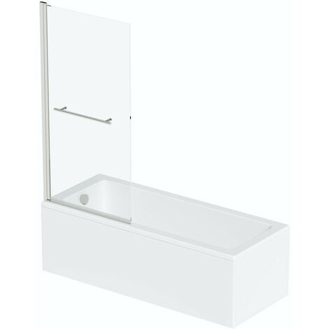 Orchard square edge shower bath with 8mm hinged shower screen and rail 1500 x 700