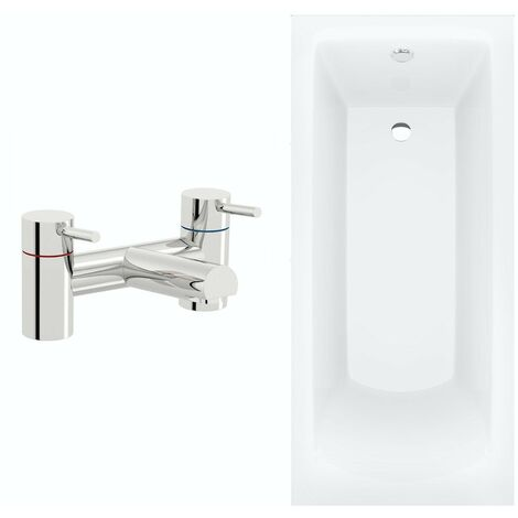 Orchard square edge single ended straight bath 1700 x 700 with panel and bath mixer tap