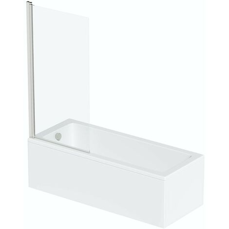 Orchard square edge straight shower bath 1600 x 700 with 6mm square shower screen