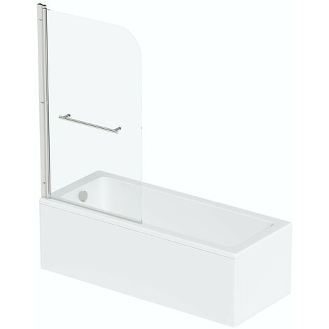 Orchard square edge straight shower bath 1700 x 750 with 6mm shower screen and rail