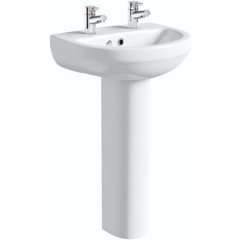 Orchard Wharfe 2 tap hole full pedestal basin 550