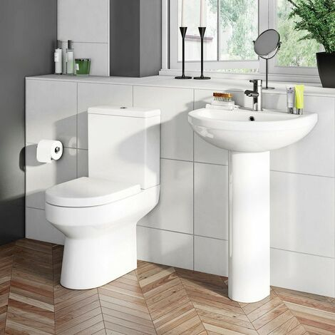 Orchard Wharfe complete cloakroom suite with full pedestal basin 500mm with tap and waste