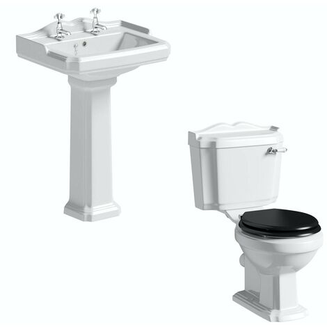 Orchard Winchester cloakroom suite with black seat and full pedestal basin 600mm