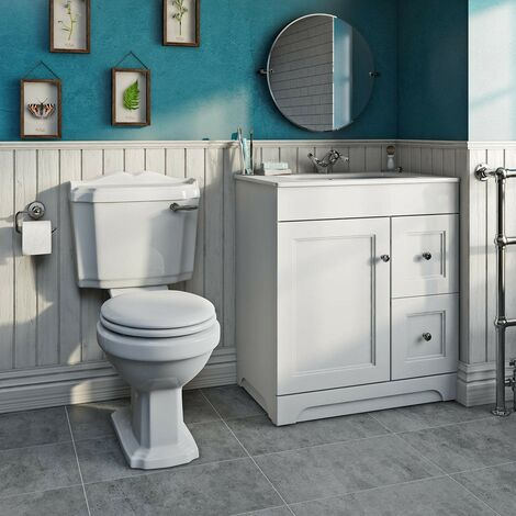 Orchard Winchester close coupled toilet and white vanity unit suite 800mm