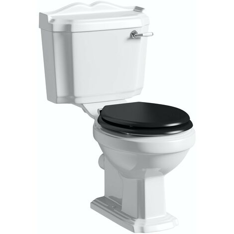 Orchard Winchester close coupled toilet with painted wood seat black