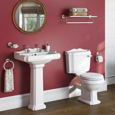 Orchard Winchester complete cloakroom suite with white seat and full pedestal basin 600mm