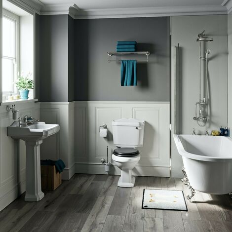 Orchard Winchester freestanding shower bath suite with black seat